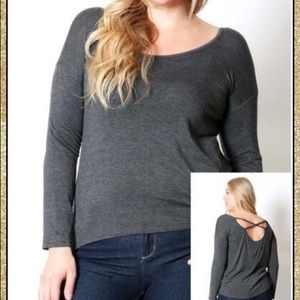 Tops - 'Part Of You' Charcoal Grey Top (CURVY)